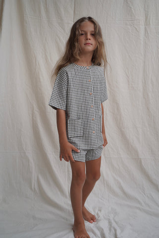 House of Paloma Pascal Kid's Short Sleeve Top Olive Gingham NEW