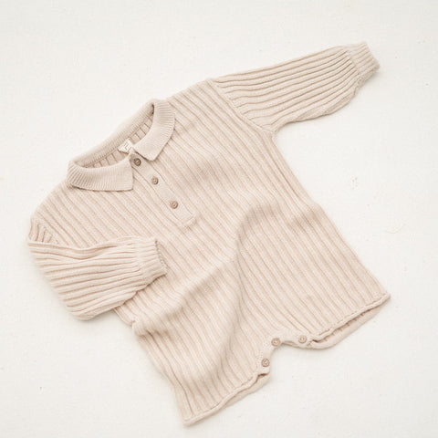 NEW Illoura Essential Rib Knit Kid's Cotton Romper Biscuit Beige | BIEN BIEN bienbienshop.com