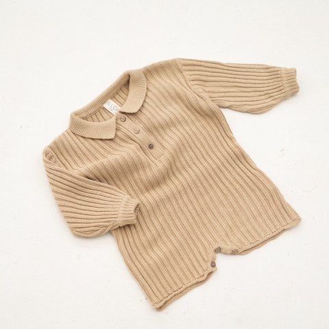 NEW Illoura Essential Rib Knit Kid's Cotton Romper Caramel Tan | BIEN BIEN
