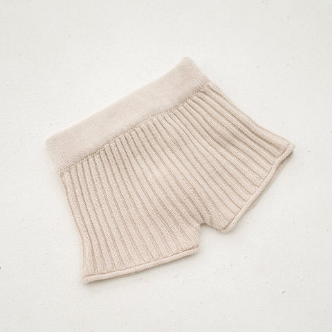 Illoura Essential Rib Knit Kid's Cotton Shorts Biscuit | BIEN BIEN