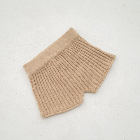 Illoura Essential Rib Knit Kid's Cotton Shorts Caramel | BIEN BIEN