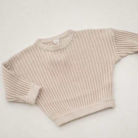 Illoura Essential Rib Knit Kid's Cotton Pullover Beige | BIEN BIEN
