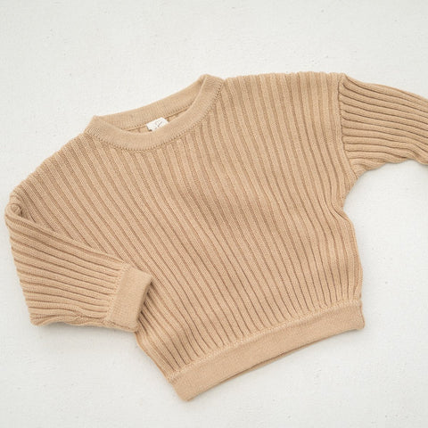 Illoura Essential Rib Knit Kid Cotton Pullover Caramel Tan | BIEN BIEN