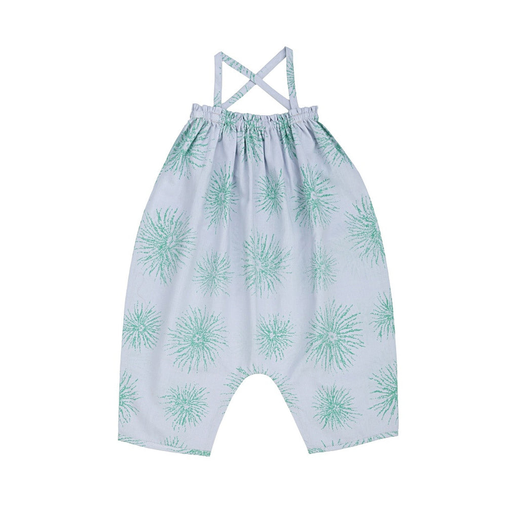 Ketiketa Alma Baby Girl Overall in Blue Green Spider Flower | BIEN BIEN