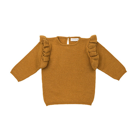 Ketiketa Zoé Wool Baby Girl Sweater in Ochre | BIEN BIEN