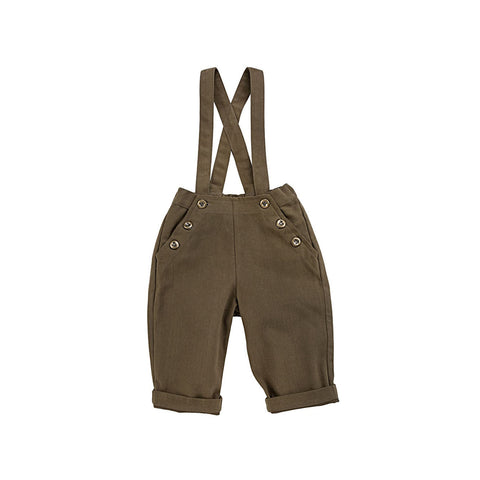 Ketiketa Paul Unisex Baby Strapped Trouser in Dark Olive | BIEN BIEN