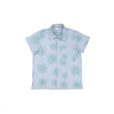 Ketiketa Orso Short Sleeve Boy's Shirt in Blue Green Flower | BIEN BIEN