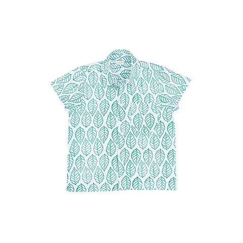 Ketiketa Orso Short Sleeve Boy's Shirt in Green Leaf | BIEN BIEN