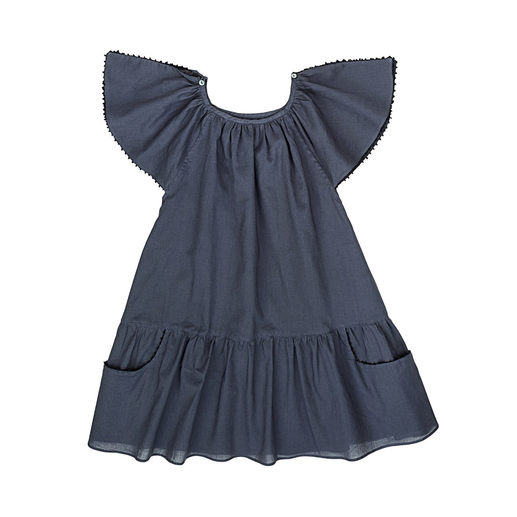 Ketiketa Carmensita Kid's Dress in Indigo | BIEN BIEN