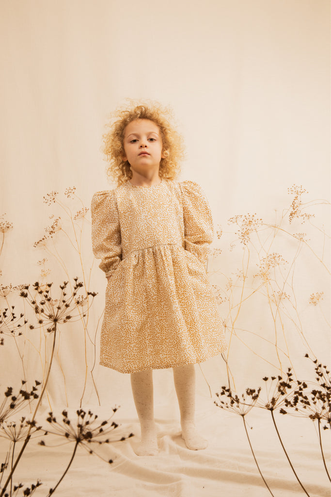 Ketiketa Dora Puff Shoulder Kid's Dress Ochre Leaf | BIEN BIEN www.bienbienshop.com