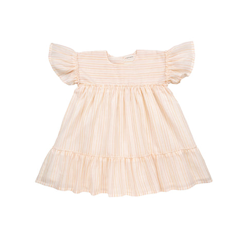Ketiketa Margot Kid's Dress Apricot Stripe Cotton | BIEN BIEN www.bienbienshop.com