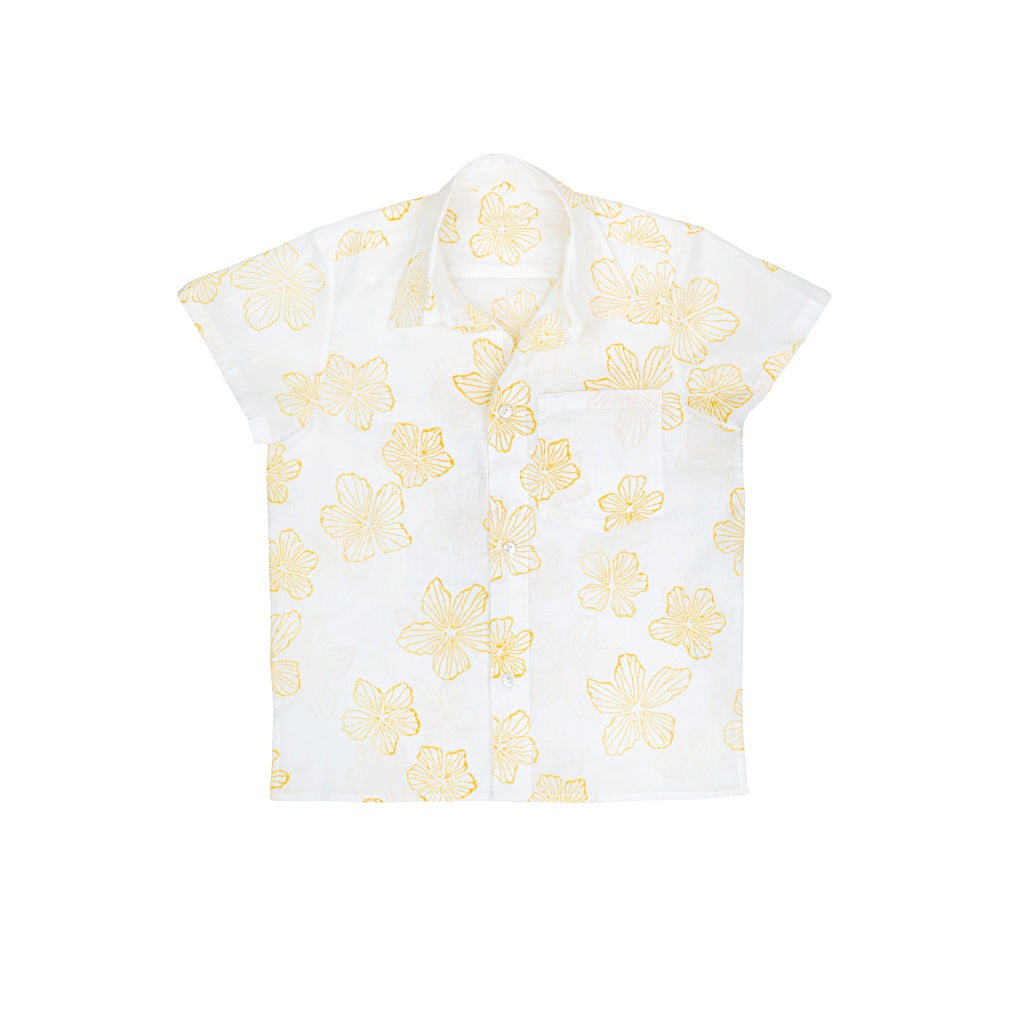 Ketiketa Orso Kid's Hawaiian Shirt in Yellow Wild Flowers | BIEN BIEN