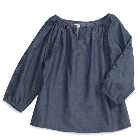 Ketiketa Almendra Embroidered Girls Blouse Indigo