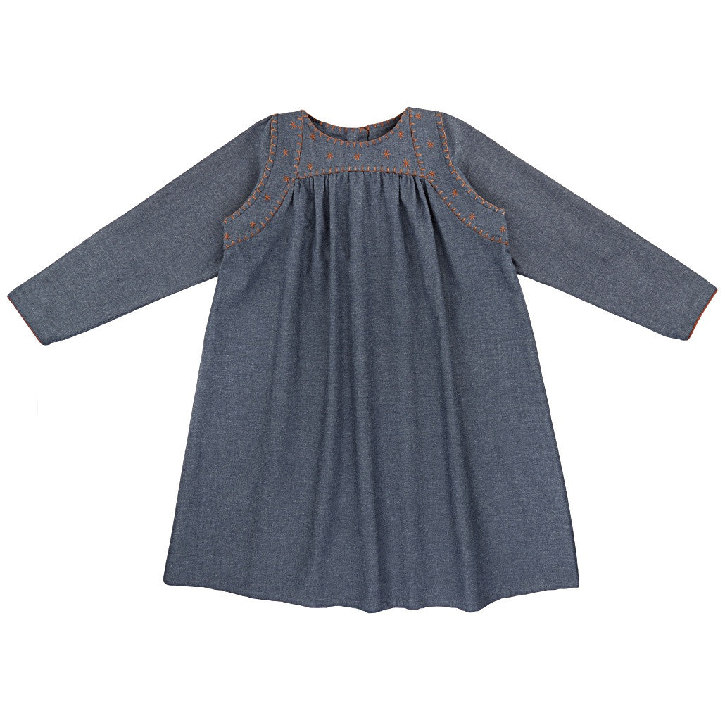 Ketiketa Marianne Girl's Dress in Chambray Blue | BIEN BIEN