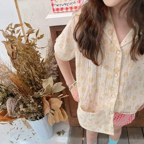 NEW Ojo de Papa Chili Kid's Collared Short Sleeve Shirt Beige | BIEN BIEN