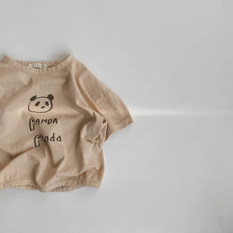 Korean Apparel - Panda Short Sleeve Kid's Tee Beige Cotton | BIEN BIEN bienbienshop.com