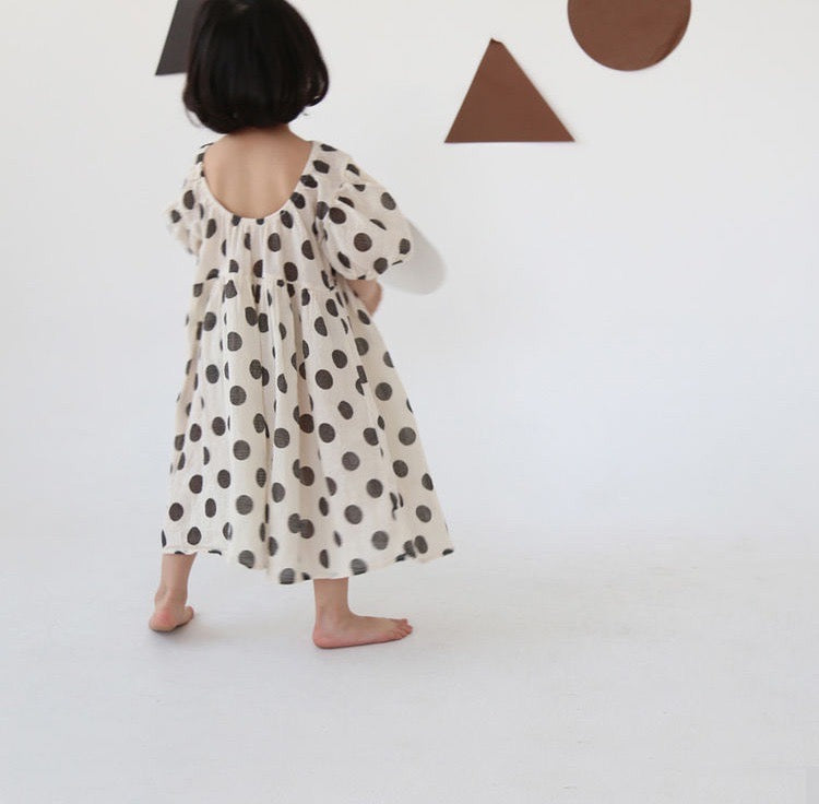 Korean Apparel - Dot Kid's Puff Sleeve Dress Ivory/Black Cotton Gauze | BIEN BIEN bienbienshop.com