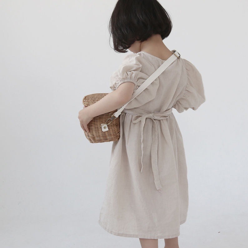 Korean Apparel - Puff Sleeve Kid's Dress Cotton Natural | BIEN BIEN bienbienshop.com