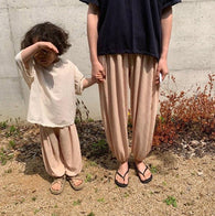 Korean Apparel - Ice Kid's Pants Crinkled Cotton Pale Peach | BIEN BIEN bienbienshop.com