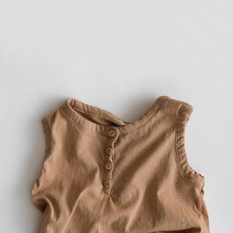 Korean Apparel - Popo Kid's Sleeveless Tee Earth Brown Cotton | BIEN BIEN bienbienshop.com
