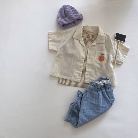 Korean Apparel - Orange Pocket Buttondown Kid's Shirt Cream | BIEN BIEN bienbienshop.com