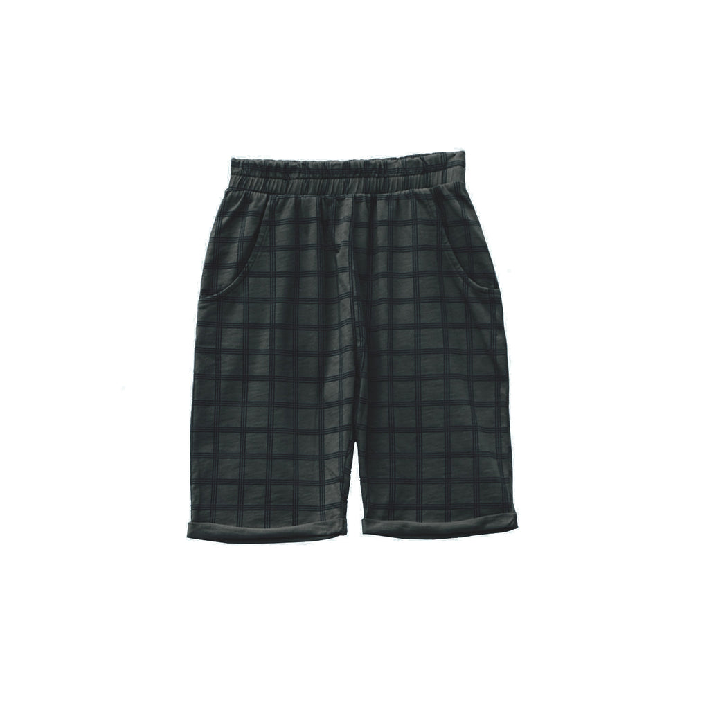 Le Petit Germain Hido Kid's Short in Black Sand Check | BIEN BIEN