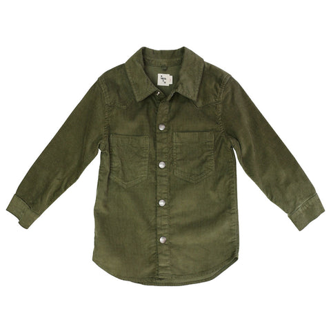 Nico Nico Life Cord Kid's Buttondown Shirt in Dark Camo | BIEN BIEN