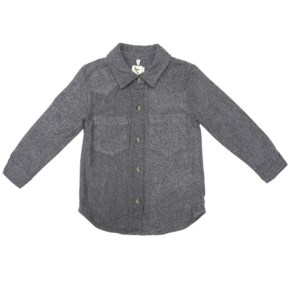 Nico Nico Life Flannel Kid's Buttondown Shirt in Pepper | BIEN BIEN