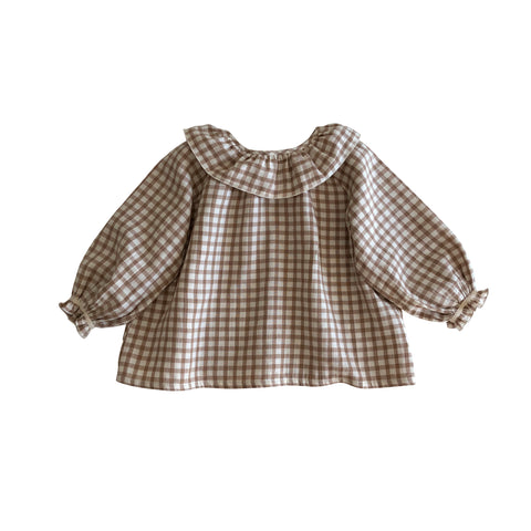 Liilu Oana Baby & Kid's Blouse Brown Check | BIEN BIEN