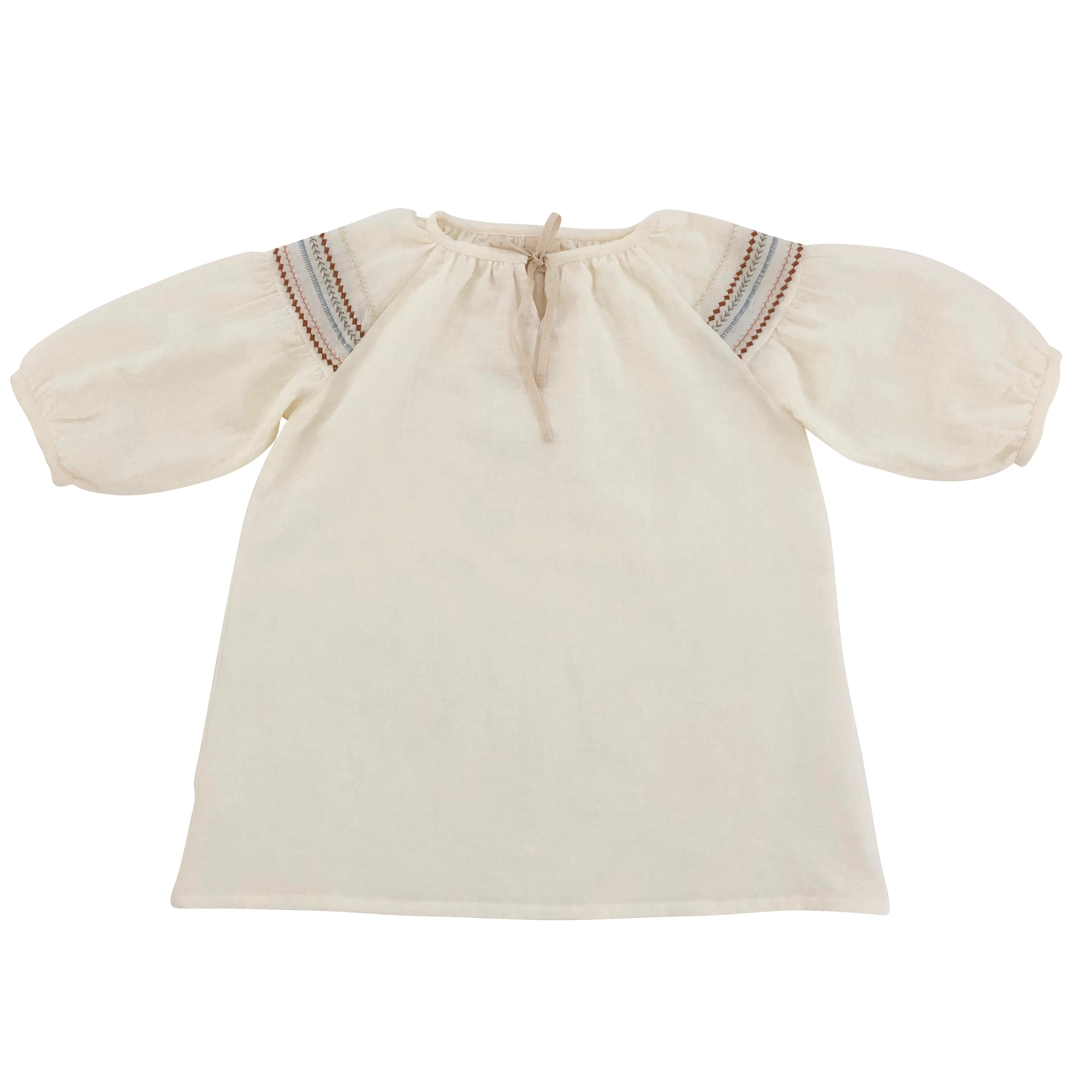 Liilu Mia Baby & Kid's Embroidered Folk Dress Milk Organic Cotton | BIEN BIEN www.bienbienshop.com