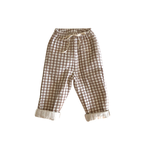 Liilu Quilted Baby & Kid's Pant Brown Check | BIEN BIEN