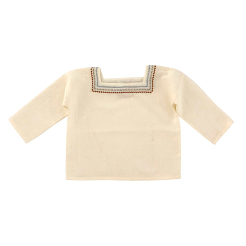 Liilu Oversized Baby & Kid's Embroidered Folk Shirt Milk Organic Cotton | BIEN BIEN www.bienbienshop.com