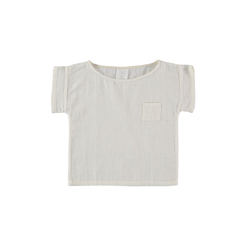 Liilu Pocket T-Shirt Off-White | Organic cotton baby & kid's unisex tee | BIEN BIEN www.bienbienshop.com