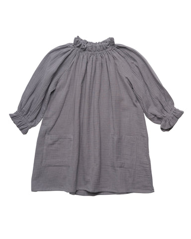 Liilu Oana Kid's Dress Elephant Grey | Organic cotton gauze | BIEN BIEN
