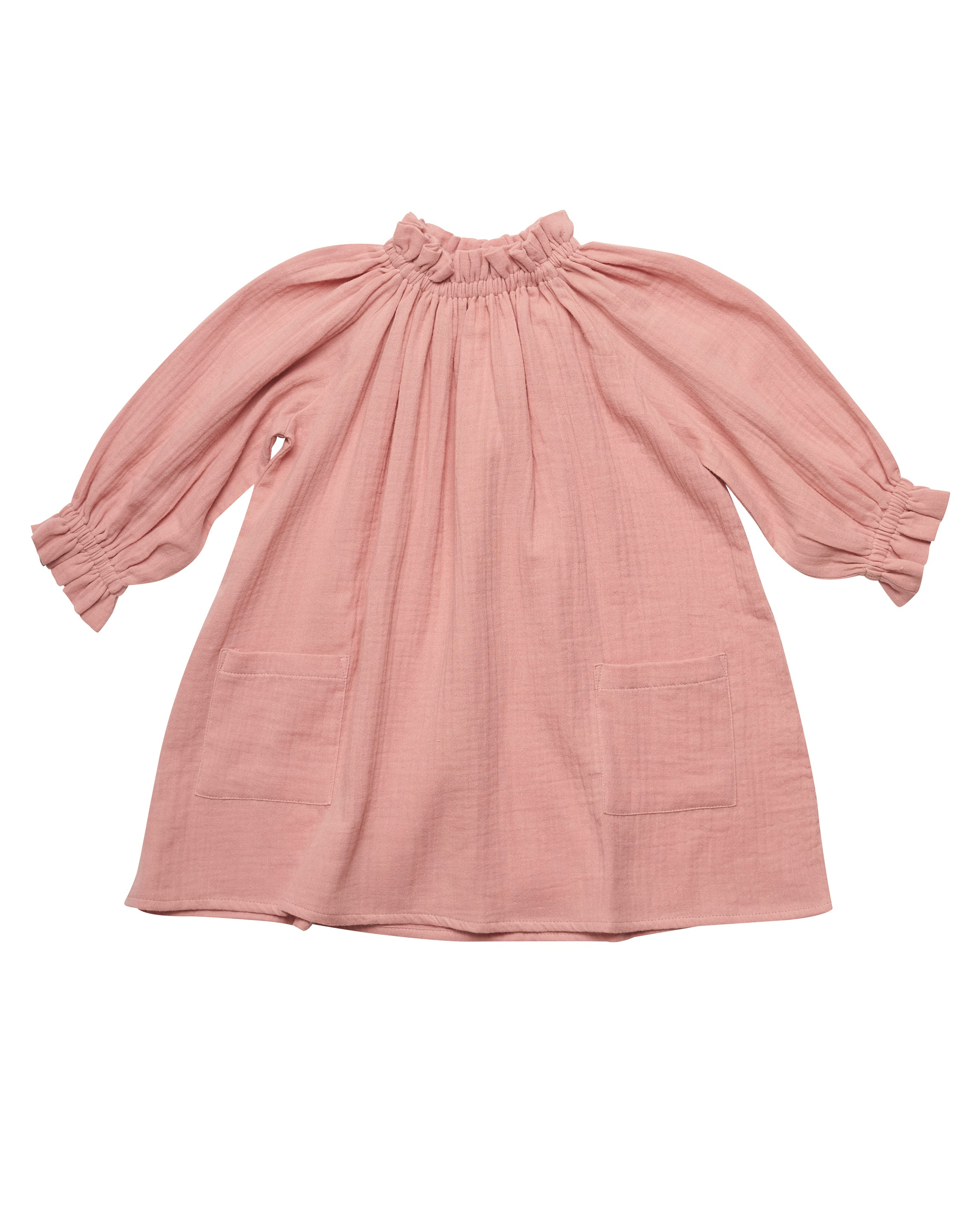 Liilu Oana Kid's Dress Rose | Organic cotton gauze pink | BIEN BIEN