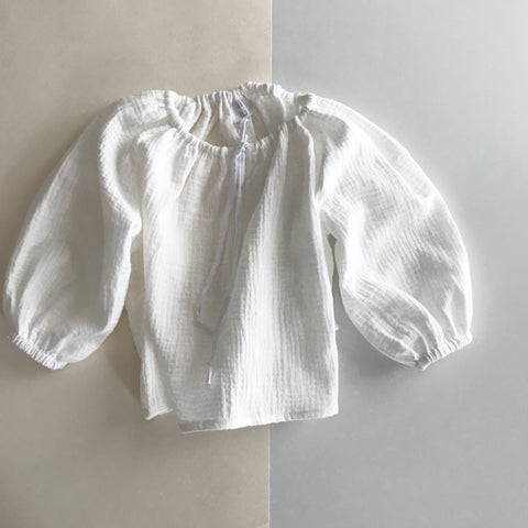 Liilu Peasant Blouse White | Girl's organic cotton blouse | BIEN BIEN