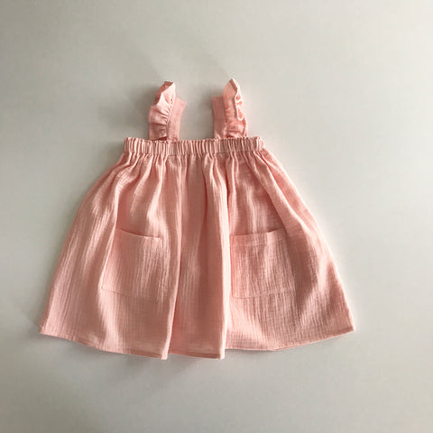 Liilu Cara Dress Soft Pink | Girl's organic cotton gauze dress | BIEN BIEN