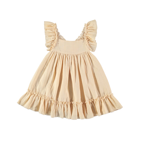 Liilu Pinafore Girl's Dress Vanilla | Organic cotton dress | BIEN BIEN www.bienbienshop.com