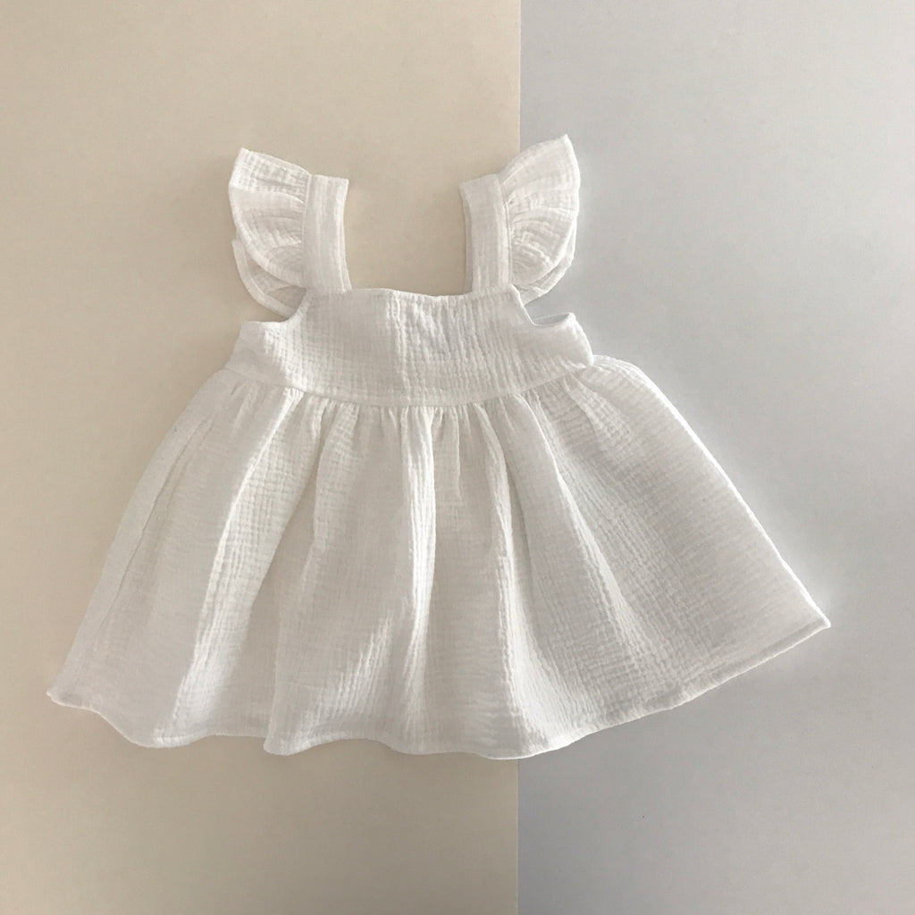 Liilu Pinafore Dress White | Girl's organic cotton gauze dress | BIEN BIEN