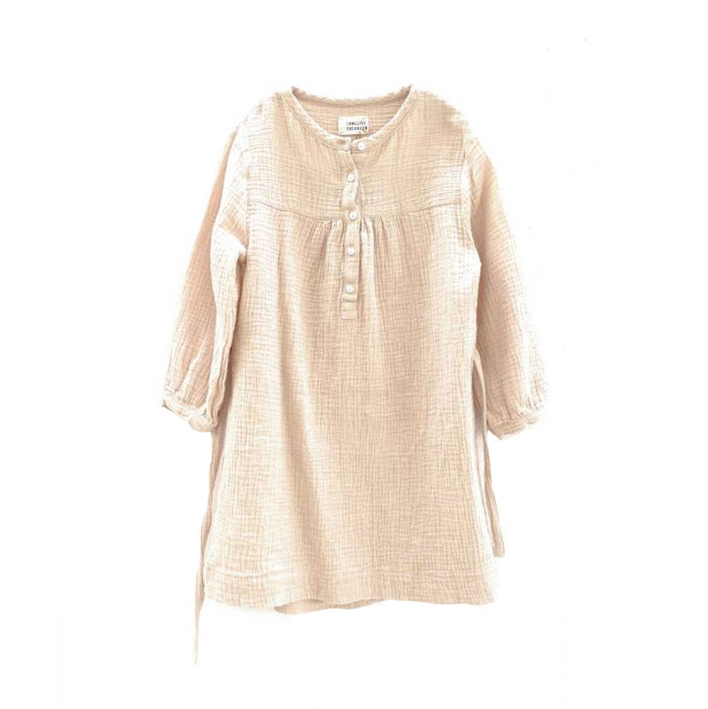 Long Live the Queen Crinkle Kid's Cotton Dress Natural | BIEN BIEN www.bienbienshop.com