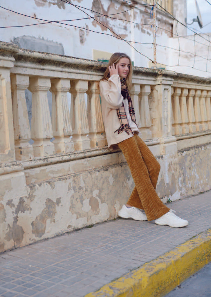Long Live the Queen Flared Kid's Chenille Pants Ochre Rib | BIEN BIEN www.bienbienshop.com