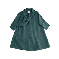 Long Live the Queen Linen Kid's Tent Dress Dark Pine Green | BIEN BIEN bienbienshop.com