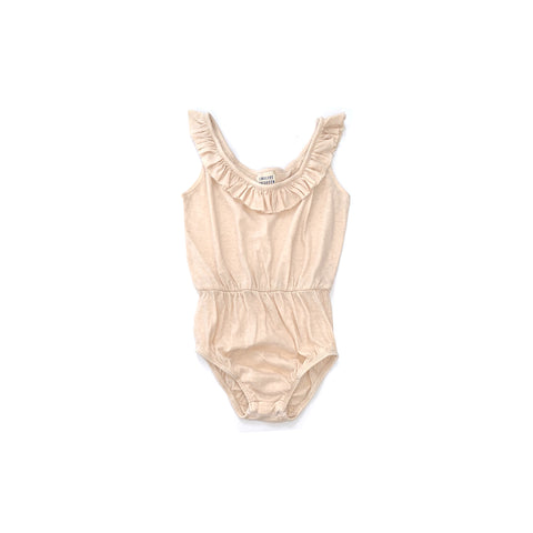 Long Live the Queen Ruffle Kid's Bodysuit Natural Linen | BIEN BIEN