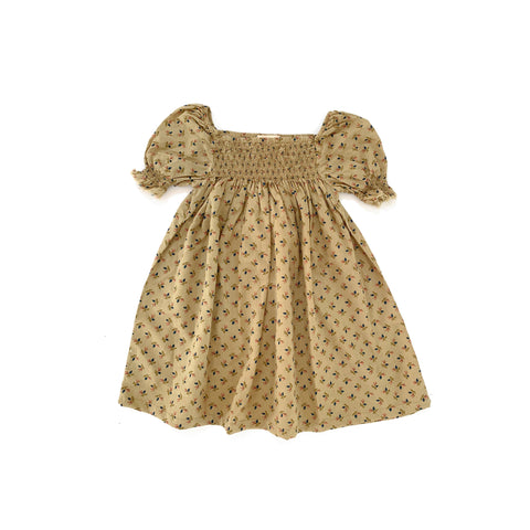 Long Live the Queen Kid Babydoll Smocked Dress Sage Floral | BIEN BIEN