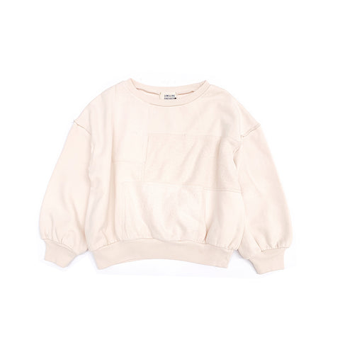 Long Live the Queen Kid's Patchwork Sweatshirt Ivory Organic Cotton | BIEN BIEN bienbienshop.com