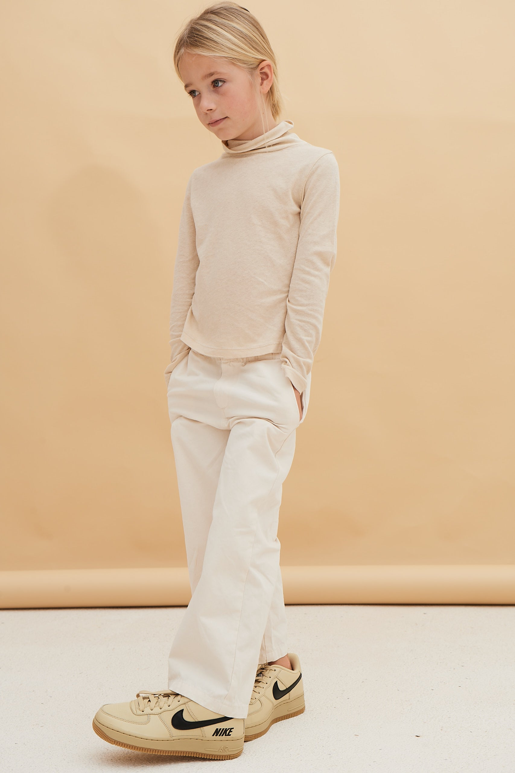 Long Live the Queen Kid's Linen Turtleneck T-Shirt Off-White | BIEN BIEN bienbienshop.com