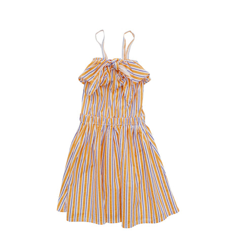 Nico Nico Luau Knot Girl's Dress in Kumquat Stripe | BIEN BIEN