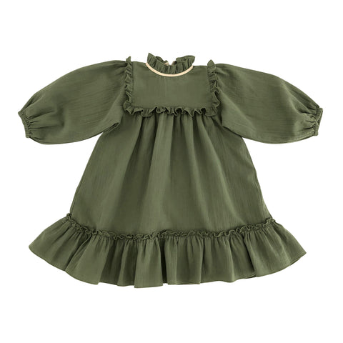 Liilu Liana Kid's Dress Olive Green Organic Cotton | BIEN BIEN www.bienbienshop.com