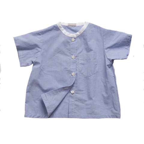Makié James Baby Boy Short Sleeve Shirt in Blue Gingham White Collar | BIEN BIEN
