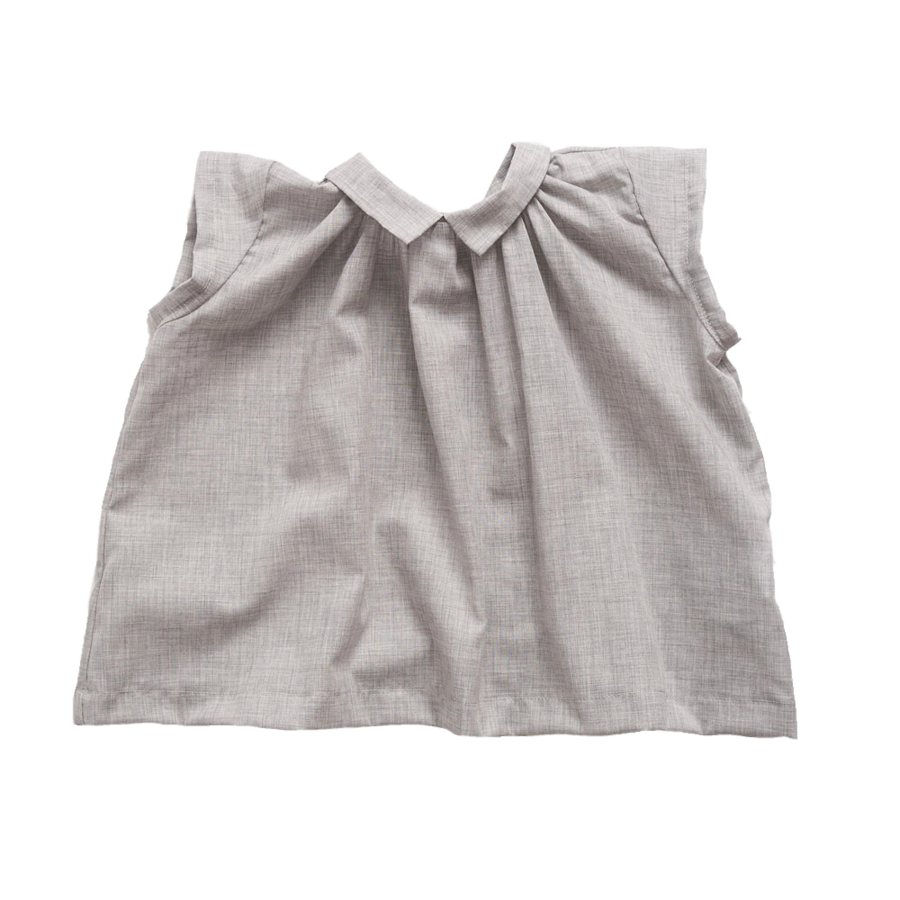 Makié Michaela Baby Girl Blouse in Light Grey Hatch | BIEN BIEN